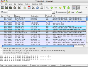 Wireshark captured packets