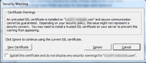 You may need to install a trusted SSL certificate on your server to prevent this warning from appearing.